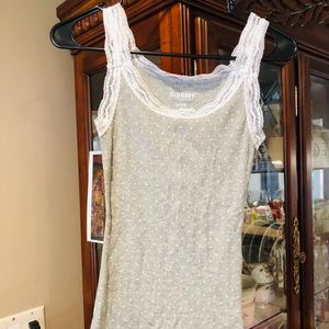 Old Navy Gray & White Lace Trim Tank Top